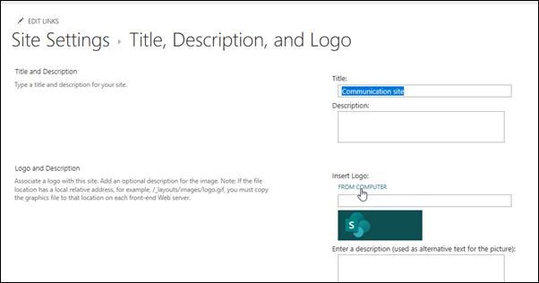 Csoport-vagy kommunikációs webhely emblémájának módosítása