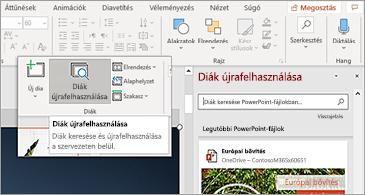 A diák újbóli használata gomb és a megnyitott ablaktábla a PowerPointban