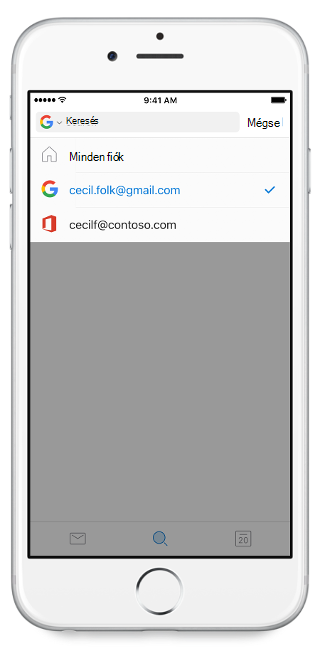 """Egy mobilképernyőt megjelenítése, a fiókok a """"Minden fiók"""" fejléc alatt felsorolva"""