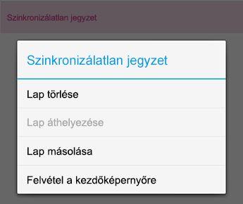 A Jegyzet menü az Android OneNote-ban