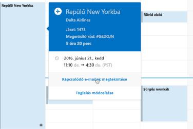 Utazási kártya az Outlook Naptárban