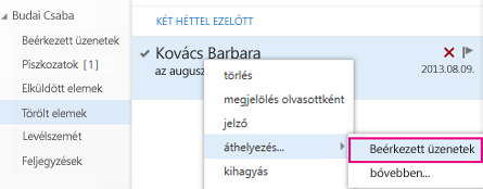 A Törölt elemek mappában lévő elem visszaállításához használandó elérési út az Outlook Web Appban