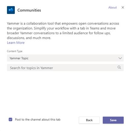 Yammer Közösségek lap hozzáadása Teams-csatornához
