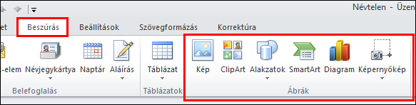 Az Outlook 2010 Kép beszúrása gombja