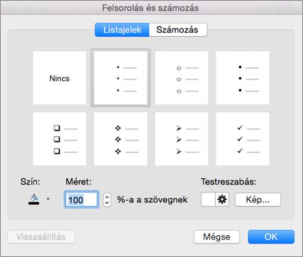 Mac Office Felsorolás és számozás párbeszédpanel