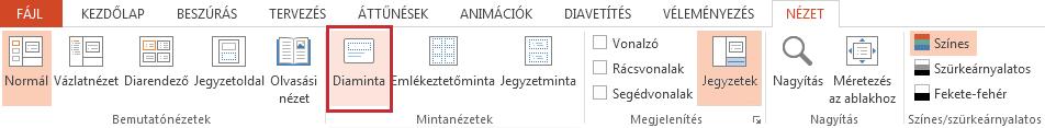 Diaminta beállításainak gombja a Nézet lapon található.