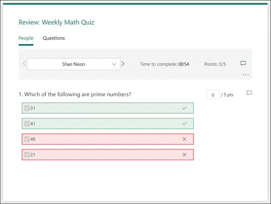 Tekintse át a tesztekre adott válaszokat.