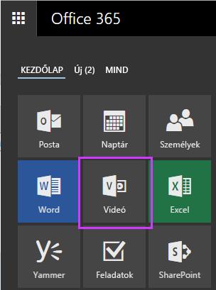 Az Office365 Videó alkalmazásindító csempéje