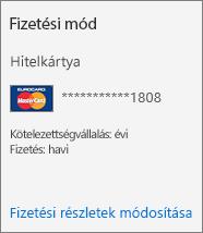 """Egy hitelkártyával fizetett előfizetés előfizetési kártyájának """"Fizetési mód"""" szakasza"""