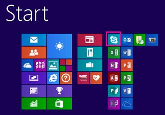 A Windows 8.1 kezdőképernyője, amelyen a Skype Vállalati verzió ikonja ki van jelölve