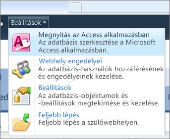 Webes adatbázis webhelyének Beállítások menüje a SharePoint rendszerben