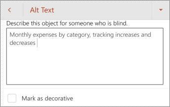 Helyettesítő szöveg egy táblázathoz a Android PowerPoint.
