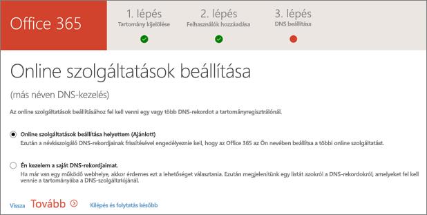 Online szolgáltatások beállítása