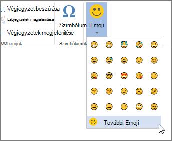 A Beszúrás lapon a további Emojik a Emojik gombra kattintva választhat az összes elérhető emojik közül.