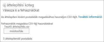 Új áttelepítési köteg CSV-fájllal