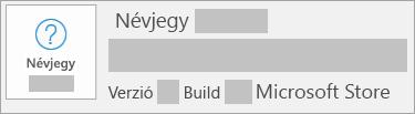 Képernyőkép, amely alapján a verzió és a build a Microsoft Store