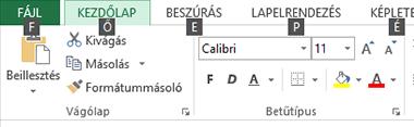 Excel 2013 Menüszalag Tippbillentyűk