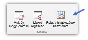 képernyőkép a Relatív hivatkozással gombról