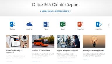 Az Office Oktatóközpont kezdőlapja a rendelkezésre álló tartalomtípusok különböző Office-appjainak és -csempéinek ikonjaival