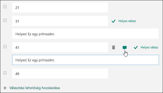 Tesztkérdés a helyes válasz szövegével együtt a két helyes válasz mellett megjelenítve