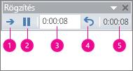 A PowerPoint időzítést rögzítő területe