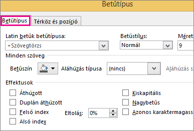 Font dialog box in Excel