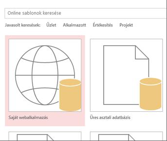 Az indítóképernyő Egyéni webalkalmazás gombja