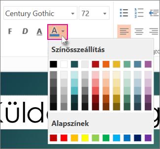 A szöveg színének kiválasztása