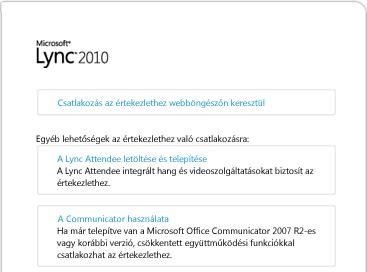 A Lync-böngészőablak képe