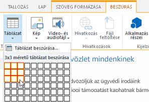 Táblázat beszúrása a SharePoint Online nyilvános webhelyen