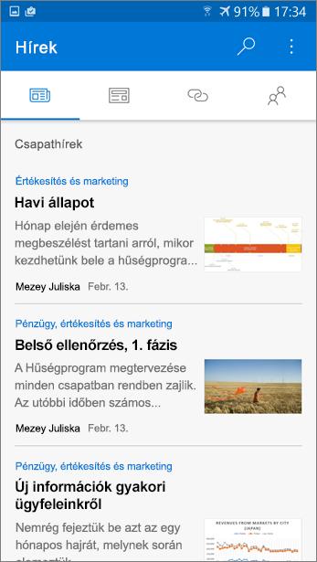 Képernyőkép: a hírcsoportok lapon