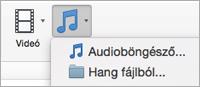 """Hang beszúrása menü """"hang fájlból"""" és """"audioböngésző"""" lehetőségekkel"""