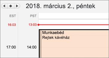 Közelkép a naptárról, bal oldalt két különböző időzóna látható