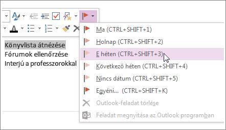 Létrehozhat az Outlookban nyomon követhető feladatot.
