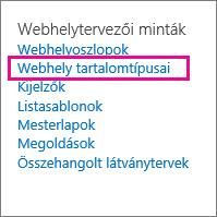A Webhely beállításai lap Webhely tartalomtípusai hivatkozása