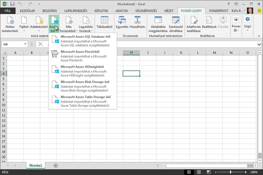 Külső adatok importálása az Azure-ból
