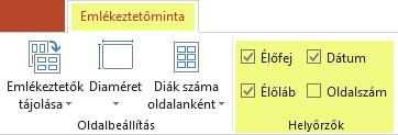 Ha el szeretne távolítani valamilyen elemet az emlékeztetőből, törölje a jelet a megfelelő jelölőnégyzetből (például Élőfej).