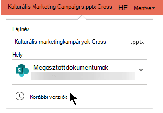 Válassza ki a fájl nevét a címsorban a fájl korábbi verzióihoz való hozzáféréshez