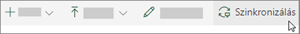 A SharePoint Online eszköztár, amelyen a szinkronizálás lehetőség van kiválasztva