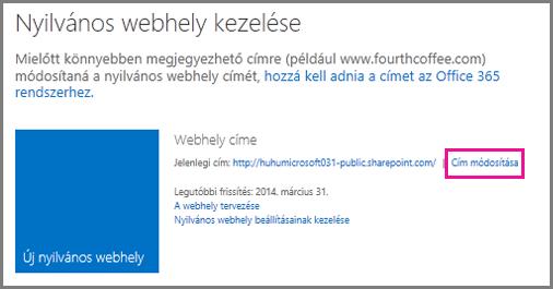 A Nyilvános webhely kezelése lap a Cím módosítása hivatkozással