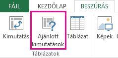 Ajánlott kimutatások az Excelben a Beszúrás lapon