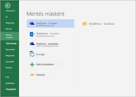 Mentési lehetőségek az Office 2016-ban