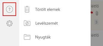 Kép az iOS Outlook bal oldali navigációs paneljéről.