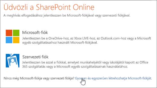 Képernyőkép a SharePoint Online bejelentkezési képernyőjéről, amelyen a Microsoft-fiók létrehozására szolgáló hivatkozás van kijelölve
