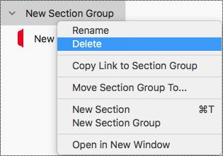 Szakaszcsoport törlése a Mac OneNote-ban