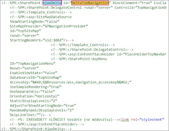 Képernyőkép a törlendő DeltaTopNavigation kódról