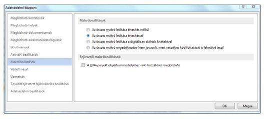 Az Adatvédelmi központ ActiveX-beállítások területe