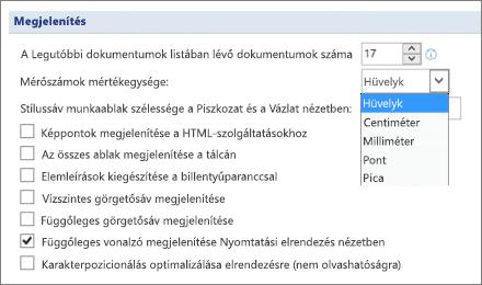 Képernyőkép az beállítás ki van jelölve a függőleges vonalzó megjelenítése Nyomtatási elrendezés nézet és a beállítások egységek például hüvelyk vagy centiméter mértékegységének módosítása