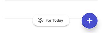 Képernyőkép a to-do alkalmazásról Androidról, amelyen a villanykörte ikon, majd a mai szöveg látható.