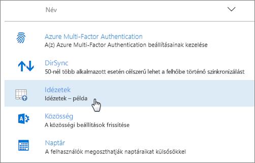 Telepített bővítmény az Office 365 Felügyeleti központban